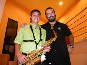 Jaume Nicolau amb el seu professor Biel Febrer