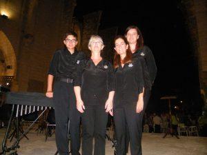 Percussionistes Rosi Ballester, Rosa Zamorano alumnes Joan i Maria