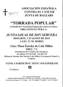 Poster torrada Càncer 1-08-2015