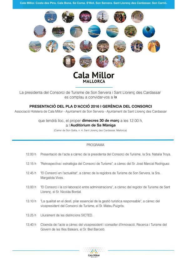 Invitació Consorci de Turisme de Son Servera i Sant Llorenç des Cardassar